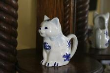 Vintage Oriental Cat Creamer, Blue and White Ceramic Asian Cat Milk Pitcher