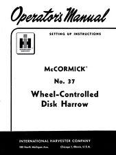 International Mccormick 37 Disk Harrow Operators Manual
