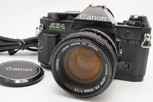 [N MINT] Canon AE-1 Program Black 35mm SLR Body FD 50mm f/1.4 S.s.C. Lens Japan