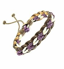 Plaited Leather Cord Strap Bracelet Wristband White And Purple Surf Surfer