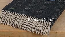 KNEE RUG WARM Pure New Wool VINTAGE Black Beige Herringbone Small Throw BRITISH