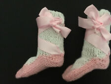 Baby bootees hand knitted socks pink and white ballet style 6 to 12 months new
