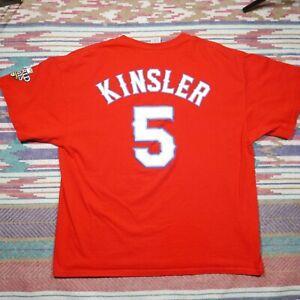 Texas Rangers Ian Kinsler Shirt Adult XL Red World Series Baseball MLB Mens