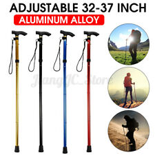Foldable Adjust Height Walking Hiking Stick Aluminum Metal Non-slip Rubber AU