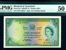 Rhodesia & Nyasaland:P-21a,1 Pound,1960 * Queen Elizabeth II * PMG AU 50 *