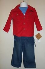 Timberland Infant Boys Long Sleeve Corduroy Shirt + Tee Shirt + Jeans  12M NWT