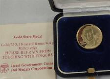 ISRAEL 1988 REMEMBER HOLOCAUST ANNE FRANK STATE MEDAL 4.4g GOLD 18K +BOX +COA