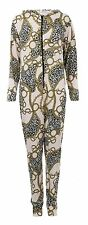 NEW WOMENS LEOPARD CHAIN TRIBAL PRINT HOODED ONESIE JUMPSUIT ONE PIECE SUIT 8-14