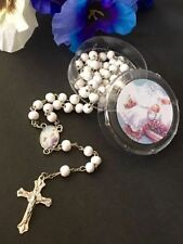 12 pcs White scented Wooden Rosaries Baby Baptism Party Favors Recuerdos Rosario