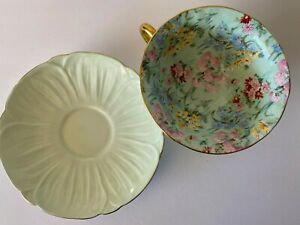 SHELLEY Melody Oleander Chintz Floral Pale Green Footed TEA CUP & SAUCER England