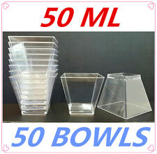 50 X DISPOSABLE PARTY CLEAR TRANSPARENT PLASTIC DIPPING BOWLS FUNCTION CATERING