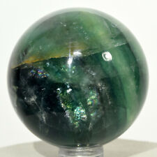 49mm Rainbow Green Fluorite Sphere Natural Banded Sparkling Mineral Stone China