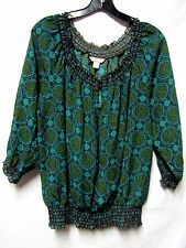 WHITE STAG Top Shirt Blouse XL 16/18 Bust 50 blue/green/brown soft silky feel