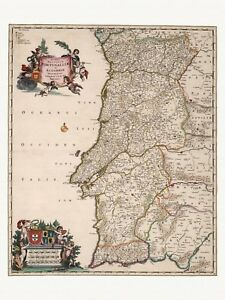 Old Antique Decorative Map of Portugal de Wit ca. 1682