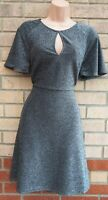 SILVER METALLIC BLACK GLITTER SPARKLY SHORT SLEEVE A LINE SKATER PARTY DRESS 12