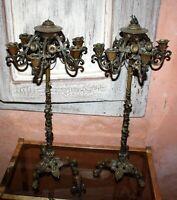 SIGNÉ CAIN Paire de chandelier naturaliste bronze  ART NOUVEAU CANDÉLABRE  XIX