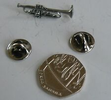 TRUMPET,MUSIC,PEWTER LAPEL OR HAT PIN, UK MADE,