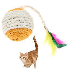 Pet Cat Toy Rolling Sisal ball Funny Cat Tumbler Ball Pet Feather Toy FavoriCaca
