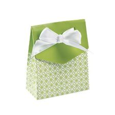 6-Pack of Cardboard Lime Green Tent Favor Wedding Boxes w/ Bows