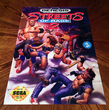 "Streets Of Rage 2 Sega Genesis box case art retro video game 24"" poster print"