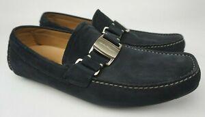 Salvatore Ferragamo Men's Sardegna Black Nubuck Driving Loafers Size 8.5 2E EE