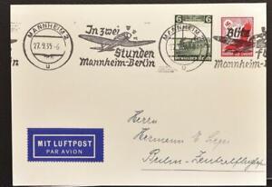 GERMANY 1935 Mannheim-Berlin Airmail Transport Slogan Postmark on Card to..LOOK