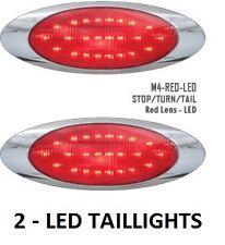 """2 -- CUSTOM LED 3 FUNCTION """"DOT"""" OVAL RED TAIL STOP TURN LIGHTS CHROME BEZEL##ZP"""