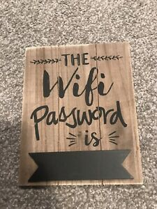 HANGING RUSTIC WOOD CHALKBOARD WIFI Wi-Fi PASSWORD SIGN PLAQUE PUB CAFE BAR B&B