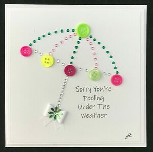 Personalised Get Well Thinking Of You Button Flower Diamante Handmade Card