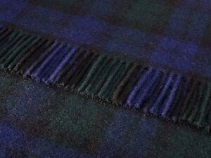 Pure new wool tartan sofa throw rug picnic blanket by BRONTE - BLACKWATCH