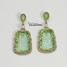Orecchini CLIP ON D'oro Verde Chiaro Perla Cristallo Imitazione Giada Retro J1
