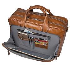 "Genuine Leather Man Business Briefcase 15.6"" Laptop Bags Totes Shoulder Attache"