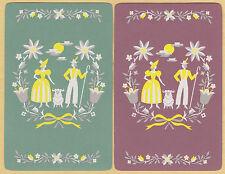 2 Single VINTAGE Swap/Playing Cards GENT LADY RAM SHEEP ID 'PRIMROSE CO-8-44'