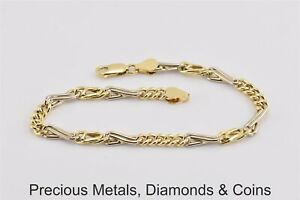 "18k Yellow & White Gold Unique Figaro Link Bracelet Lobster 8.25"" x 5mm 6.6g"