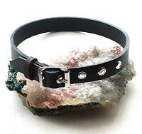 Black Leather Plain Choker Necklace Gothic punk biker hero Handmade UK