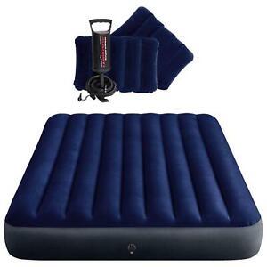 Intex Luftbett Gästebett Luftmatratze Queen 203x152x25cm Handpumpe Kissen 64765