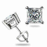 1.50Ct Princess Cut Stud Earrings Solitaire Solid 14K White Gold Screw Back Gift