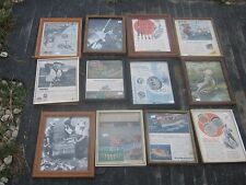 12 pcs VINTAGE Boat Fishing Clipping in a Glass Frames Good for decor