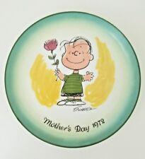 "Schmid Schultz Peanuts 1972 Mother's Day Plate Ltd Ed, Charlie Brown 7.5"""