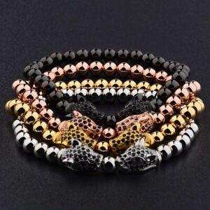 Handmade 18kt Gold Plated Zircon Panther Leopard Head Macrame Fashion Bracelet