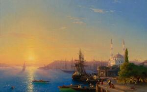 View of Constantinople by Ivan Aivazovsky 60cm x 37.6cm Art Paper Print