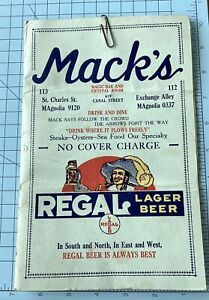 RARE VINTAGE NEW ORLEANS canal street MENU Mack's Regal 1930-50