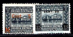 ITALIENISCHE KOLONIEN ERITREA 1916 47-48 ** POSTFRISCH TADELLOS (I2990