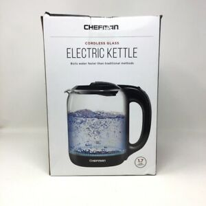 Chefman 1.7 Liter Electric Glass Tea Kettle with LED Boil Lights, Clear/Black