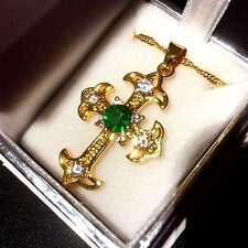 "Cc VERDE SMERALDO SIM Diamanti Croce D'oro & 18"" CATENA (18k GF) in scatola Plum UK 22"