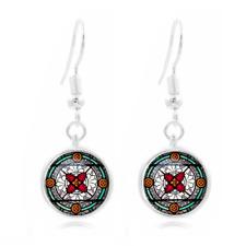 compass Tibet Silver Dome Photo Art 16Mm Glass Cabochon Long Earrings~143