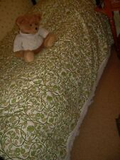 Retro fringed single bedspread, green/white/yellow, 1970's+Good clean condition.