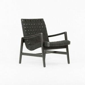 2021 Jens Risom for Knoll Ebonized Maple & Black Cotton Lounge Chair with Arms
