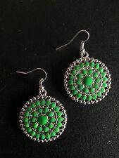 Earrings Big Round Silver Green Hippie Ethnic Boho Gypsy Bohemian A1052