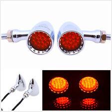 2 Pcs 12V 20-LED Red Motorcycle Chrome Bullet Stop Brake Turn Signal Tail Lights